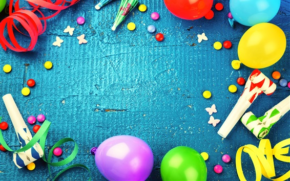 Wallpaper Colorful balloons, decoration, ribbon, candy, holiday celebration