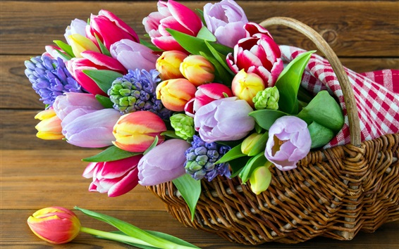 Wallpaper Colorful flowers, hyacinths, tulips, basket