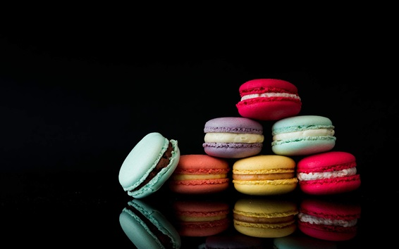 Wallpaper Colorful macarons, black background