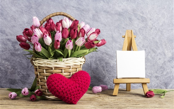 Wallpaper Colorful tulips, basket, love heart, romantic
