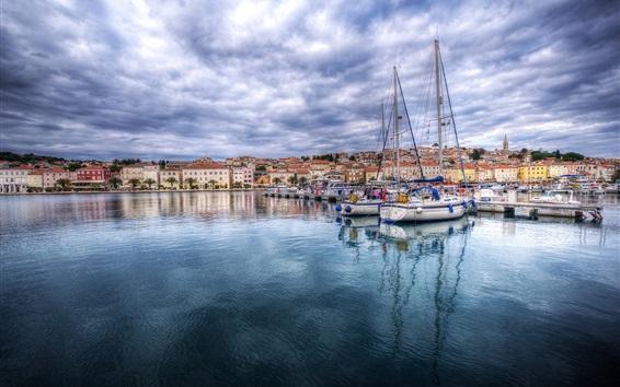 Papéis de Parede Croácia, marina, baía, barcos, nuvens