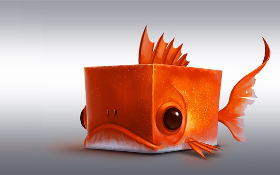 Wallpaper Cube fish, orange, creative design