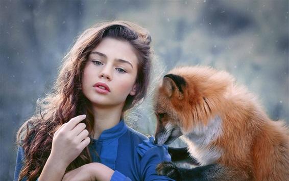 Wallpaper Curly hair girl, blue clothes, fox