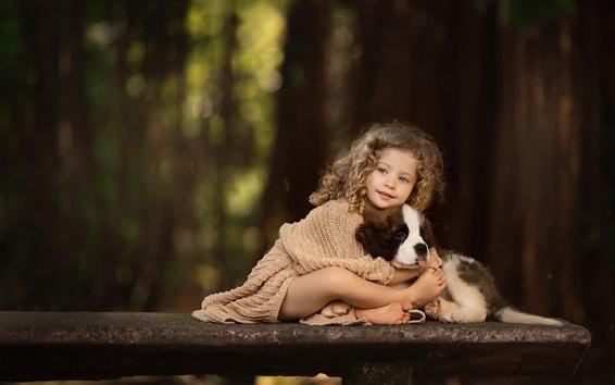 Wallpaper Curly hair little girl, dog, friends