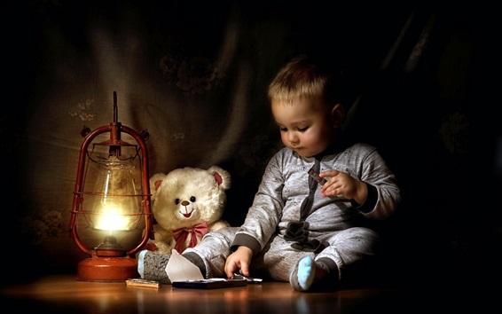 Wallpaper Cute little boy eat chocolate, teddy, lamp