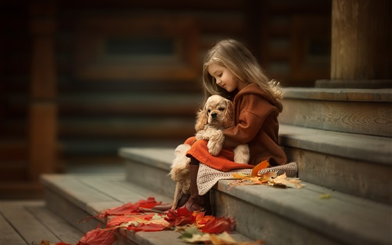 Wallpaper Cute little girl and dog, friends, ladders