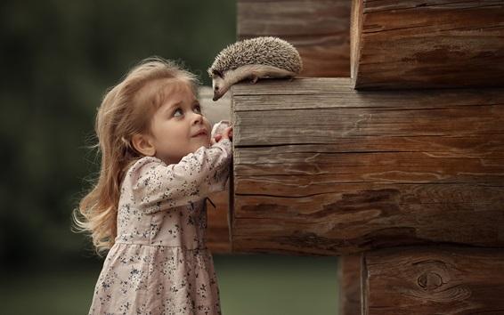 Fond d'écran Mignonne petite fille et hérisson