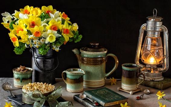 Wallpaper Daffodils, cups, milk, lamp, books, still life