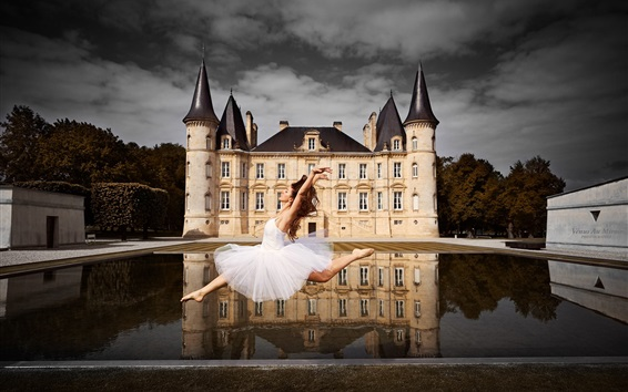 Wallpaper Dancing girl, castle, water