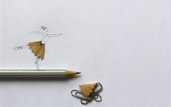 Wallpaper Dancing girl, pencil, art photography
