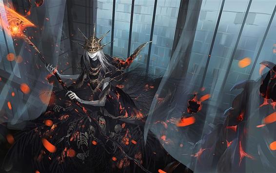 Wallpaper Dark Soul, death, skeletons, fire, art picture