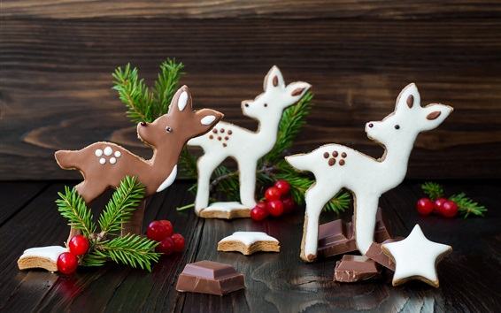 Wallpaper Deers, chocolate candy, Christmas