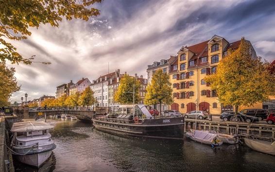 壁纸 丹麦,哥本哈根,河流,城市,船舶,汽车