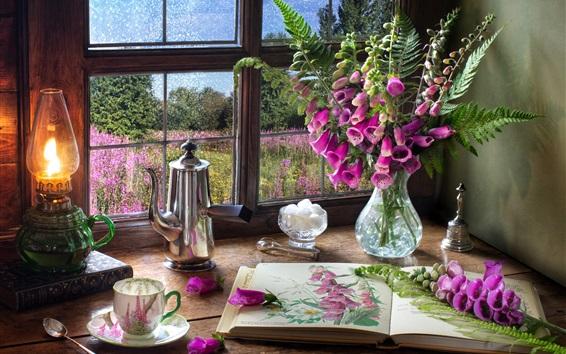 Wallpaper Digitalis, pink flowers, book, lamp, window