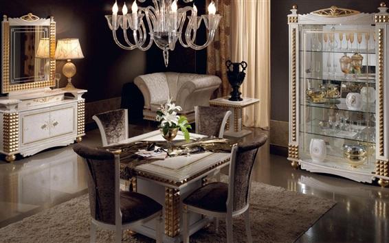 Wallpaper Dining room, mirror, table, lights