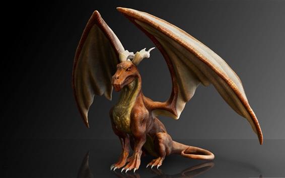 Papéis de Parede Dragão, mitologia, asas, design 3D