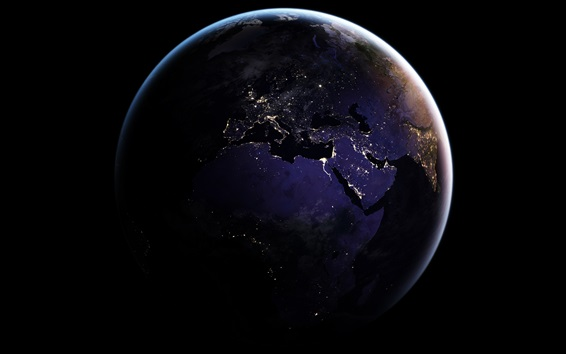 Wallpaper Earth, map, Africa, space