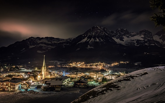 Wallpaper Ellmau, Tyrol, Austria, city, night, snow, lights