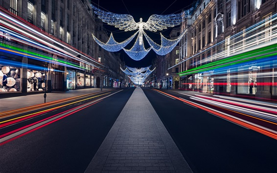Wallpaper England, Christmas, Regent Street, night, festive lights