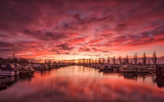 Wallpaper England, Derbyshire, harbour, river, boats, clouds, sunset