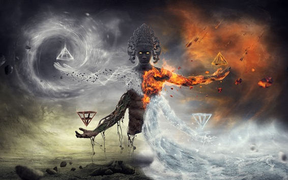 Papéis de Parede Arte da fantasia, monstro, fogo, ardente, água