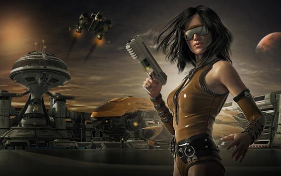 壁紙 ファンタジーガール、銃、眼鏡、未来