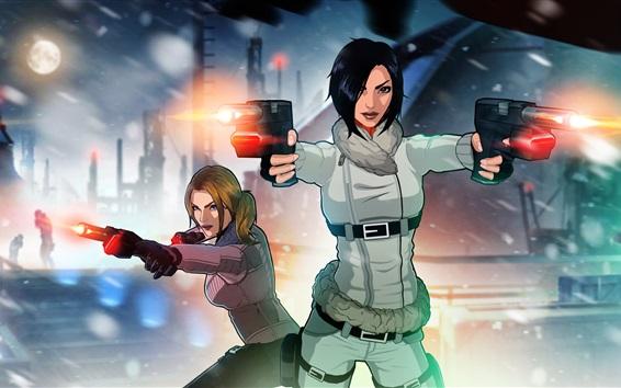 Fondos de pantalla Efecto miedo, juegos de PS, dos chicas, pistola