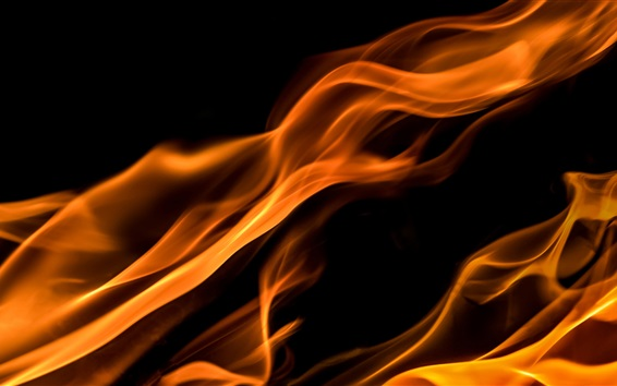 Wallpaper Fire, flame, black background