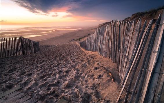 Fond d'écran France, Aquitaine, plage, mer, clôture