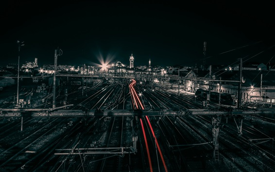 Wallpaper France, Limoges, city night, train, station