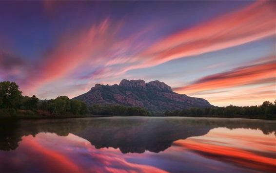 Wallpaper France, lake, mountain, water reflection, dusk