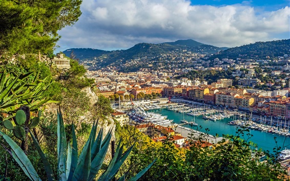 Wallpaper French Riviera, Nice, yachts, port, city