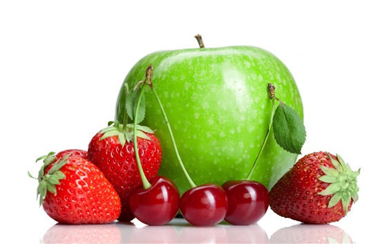 Wallpaper Fresh fruit, green apple, strawberry, cherry, white background