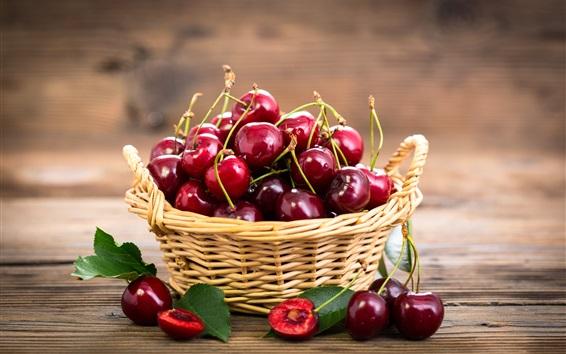 Papéis de Parede Cerejas vermelhas frescas, frutas, cesta