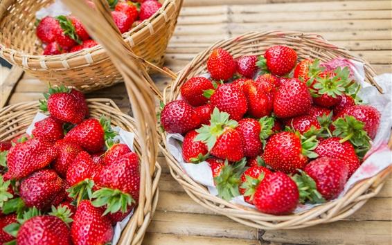 Fond d'écran Fraise fraîche, fruits, panier