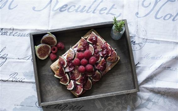 Wallpaper Fruit dessert, figs, raspberry
