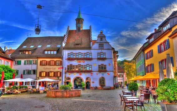 Fond d'écran Allemagne, Bade-Wurtemberg, fontaine, maisons, café, rue