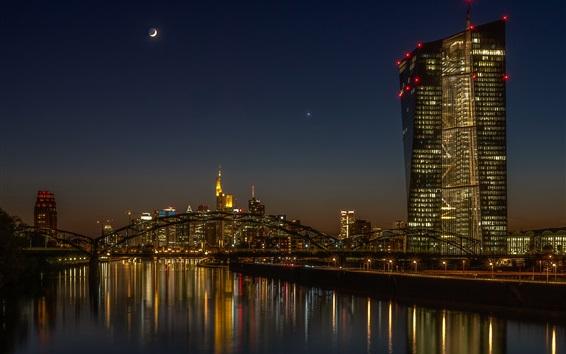 Обои Германия, Франкфурт, мост, река, ночь, освещение