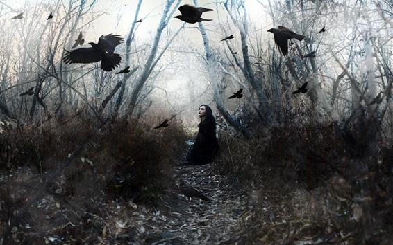 Fond d'écran Fille et oiseaux, corbeau, arbres
