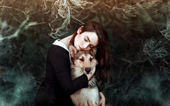 壁紙 女の子と犬、友達