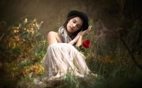 Fond d'écran Fille, rêve, rose rouge, herbe