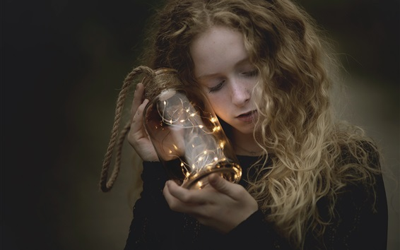 Wallpaper Girl, glass bottle, lights