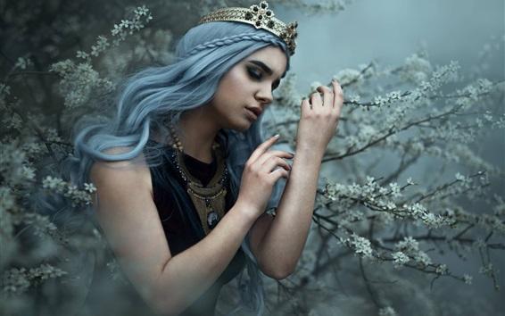 Обои Девушка, принцесса, корона, цветы