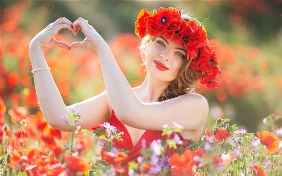 Wallpaper Girl, red skirt, flowers, wreath, love heart