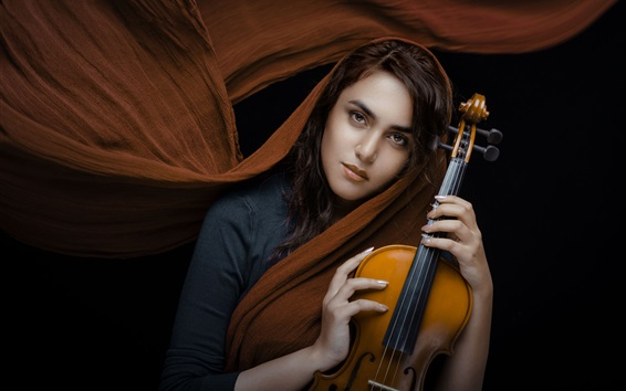 Wallpaper Girl, shawl, violin, black background