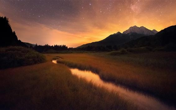 Wallpaper Grass, creek, mountains, morning