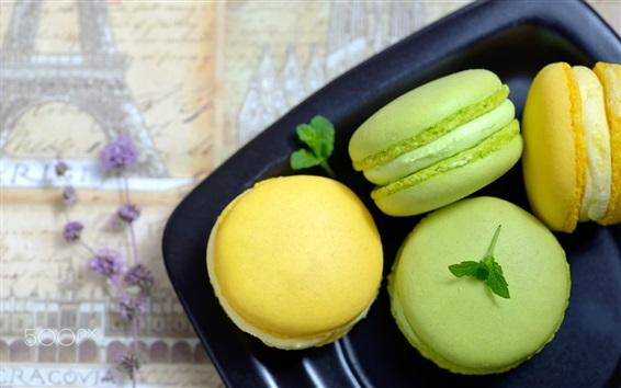 Papéis de Parede Macaroons de verdes e amarelos, bolo