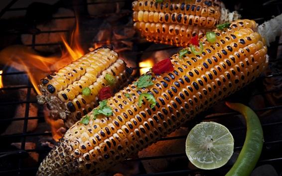 Wallpaper Grill, corn, pepper, lime