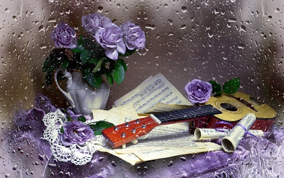 Wallpaper Guitar, music score, purple rose, water droplets