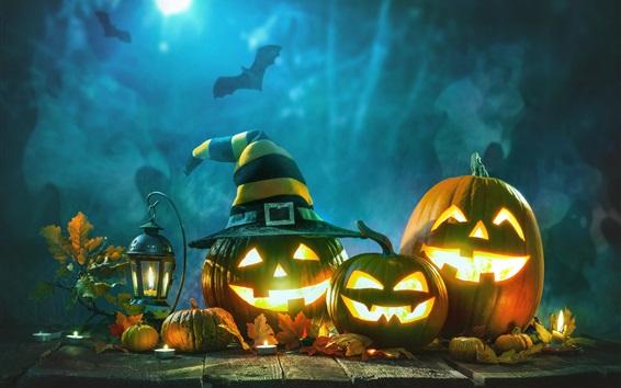 Fond d'écran Halloween, lampe citrouille, nuit